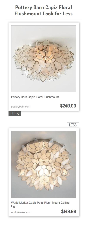 13abae28cbb54 Pottery Barn Capiz Floral Flushmount vs World Market Capiz Petal Flush  Mount Ceiling Light