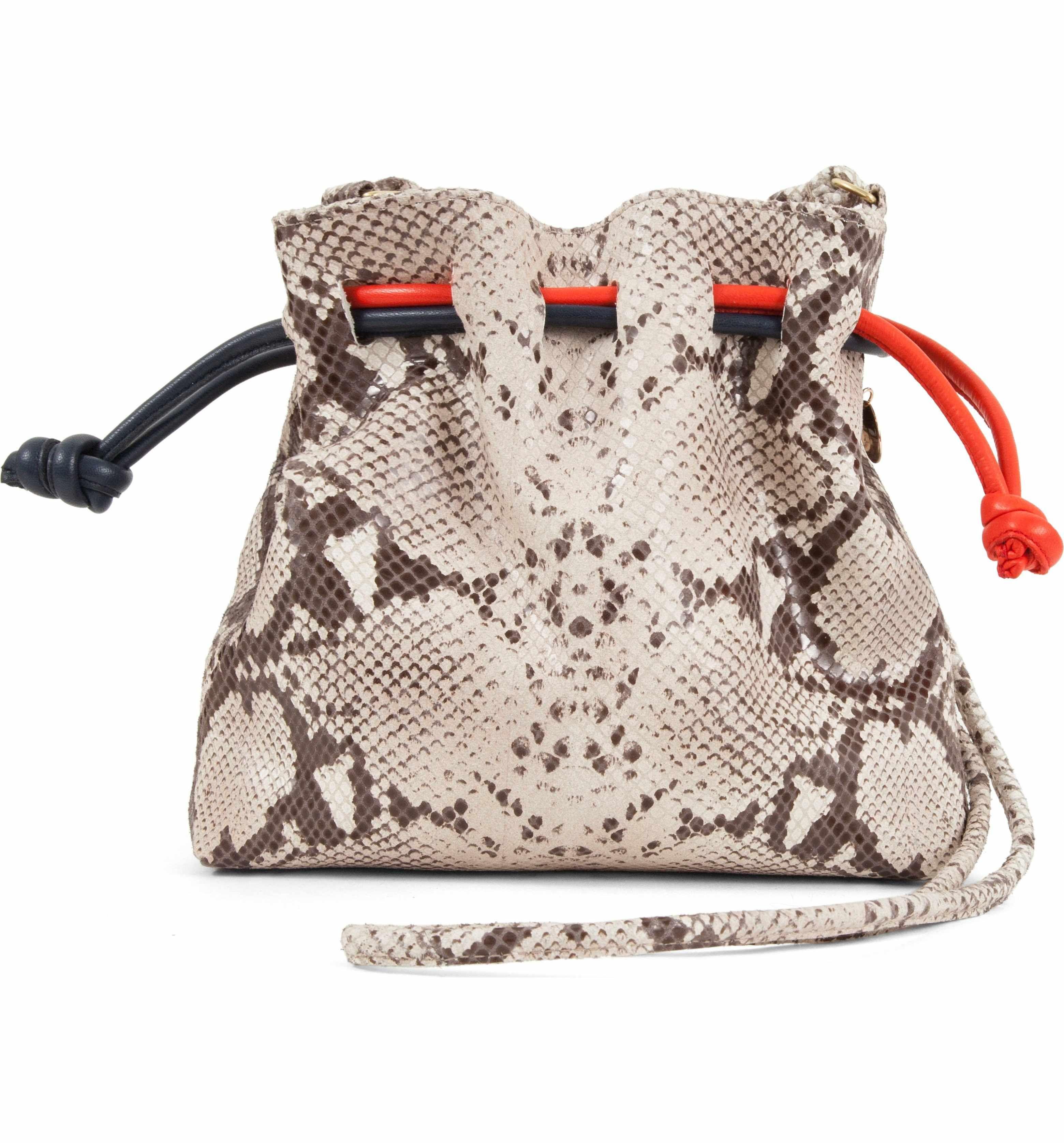 6cd1d2d44325 Main Image - Clare V. Petite Henri Supreme Snakeskin Embossed Leather  Bucket Bag