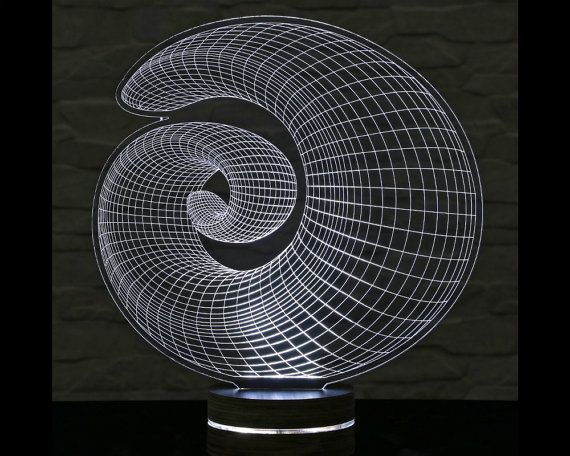 3D LED Lamp, Spiral Shape, Decorative Lamp, Home Decor, Table Lamp, Office Decor, Plexiglass Art, Art Deco Lamp, Acrylic Night Light by ArtisticLamps