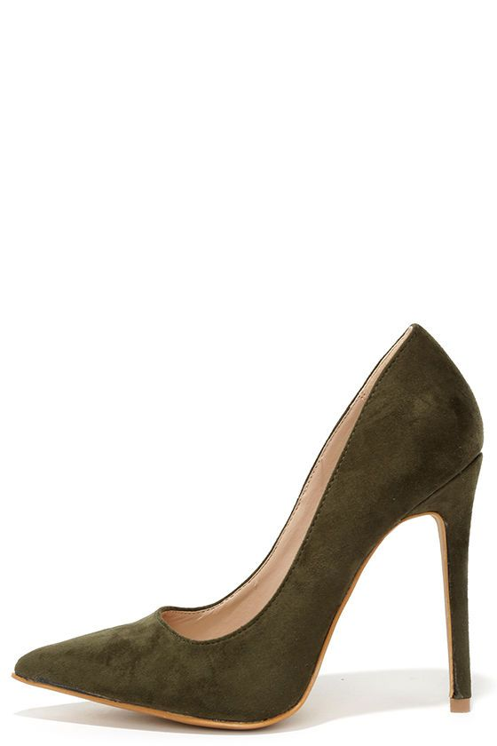 Olive Green Suede Pointed Pumps