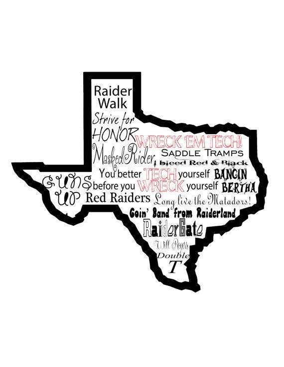 Texas Tech Word Art Poster By Studio5124 On Etsy Texas Tech