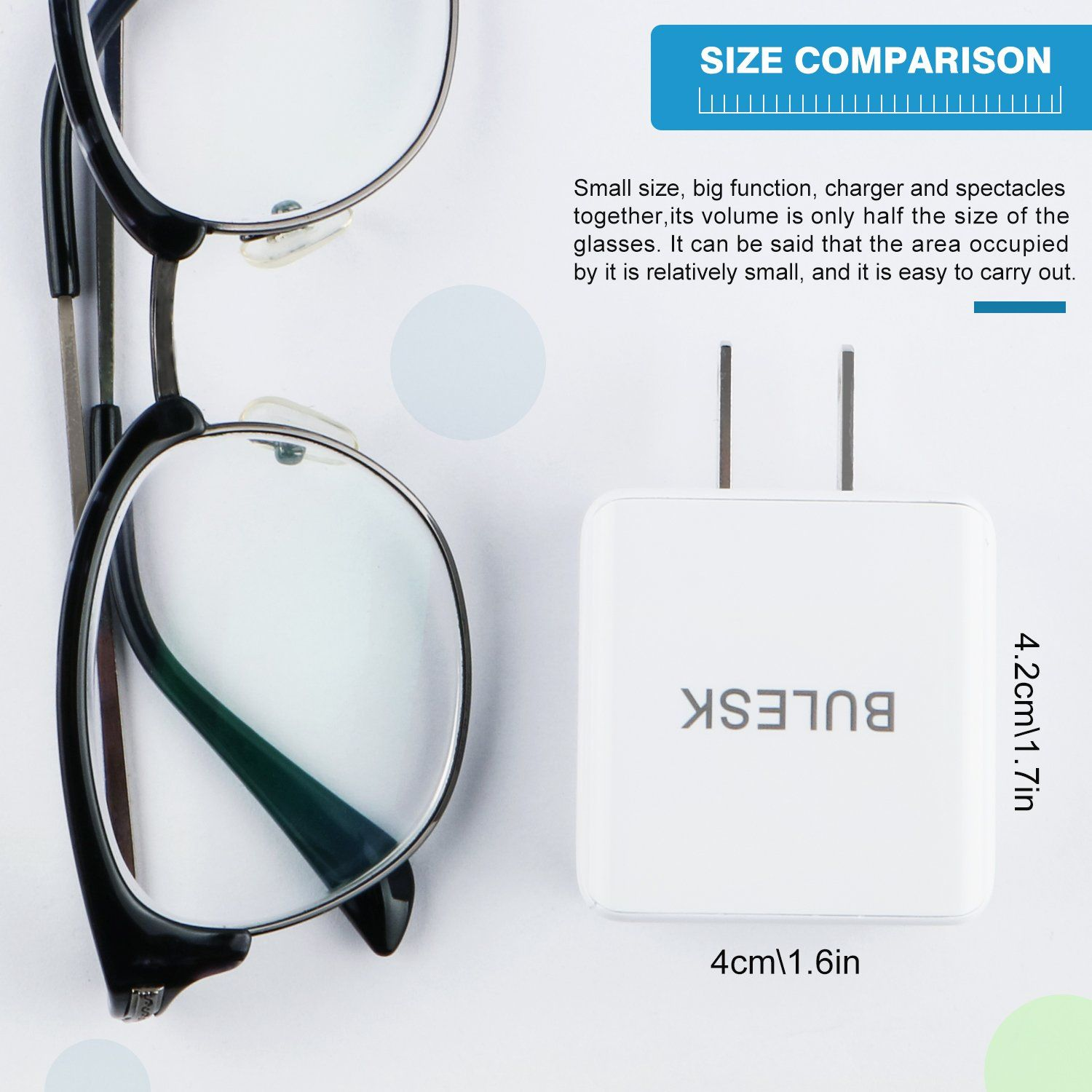 Bulesk iphone wall charger 24w 34a dual port usb travel