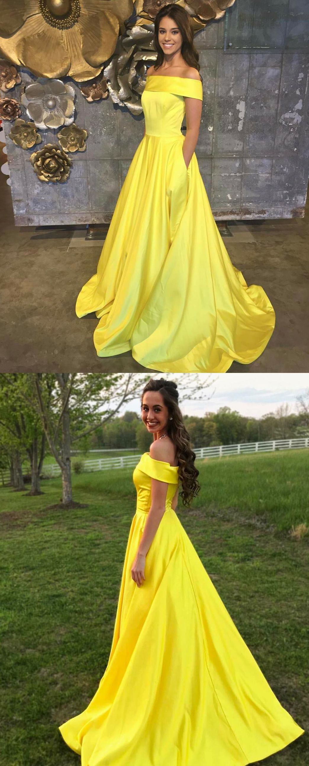 Charming a line off shoulder yellow satin promevening dress