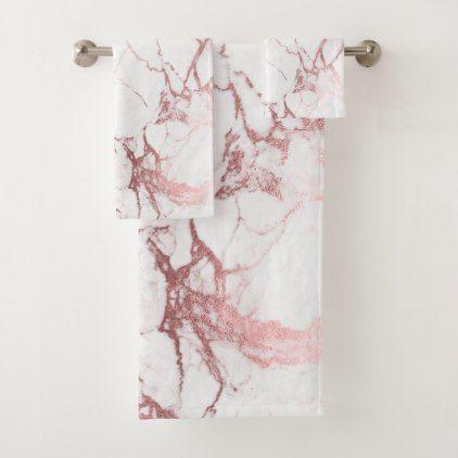 PixDezines Marble Faux Rose Gold Veins Bath Towel Set