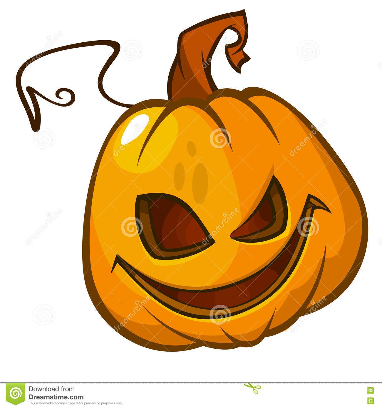 Halloween Pumpkin Head On White. Scary Jack. Vector