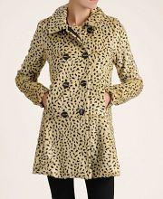 Free People Faux Spot Leopard Swing Coat