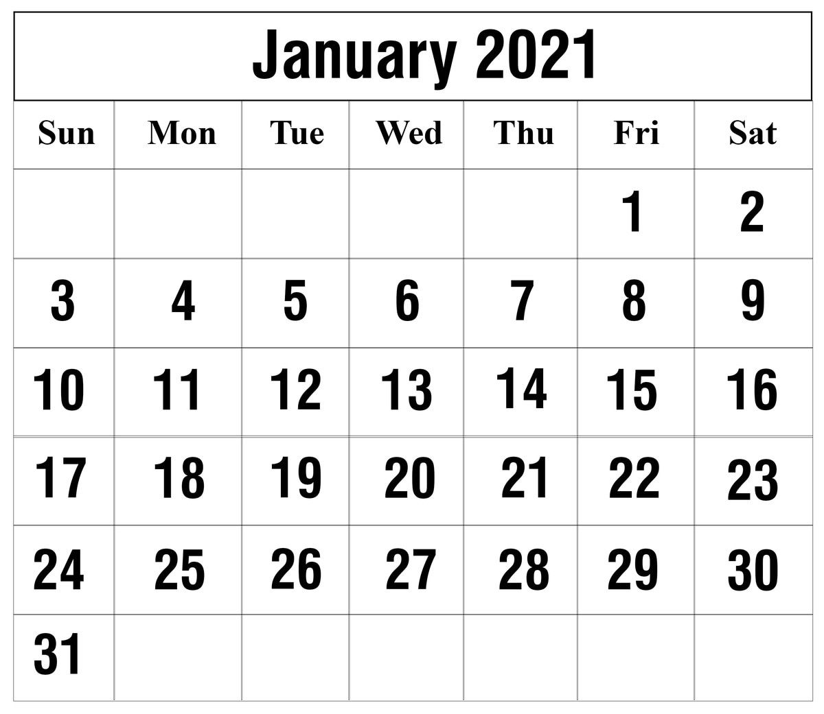 Calendar For January 2021 Project In 2020 Monthly Calendar Printable Printable Calendar Template Printable Calendar