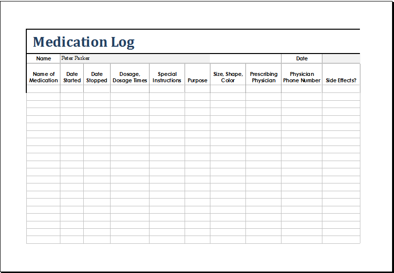 medication log template at       xltemplates org