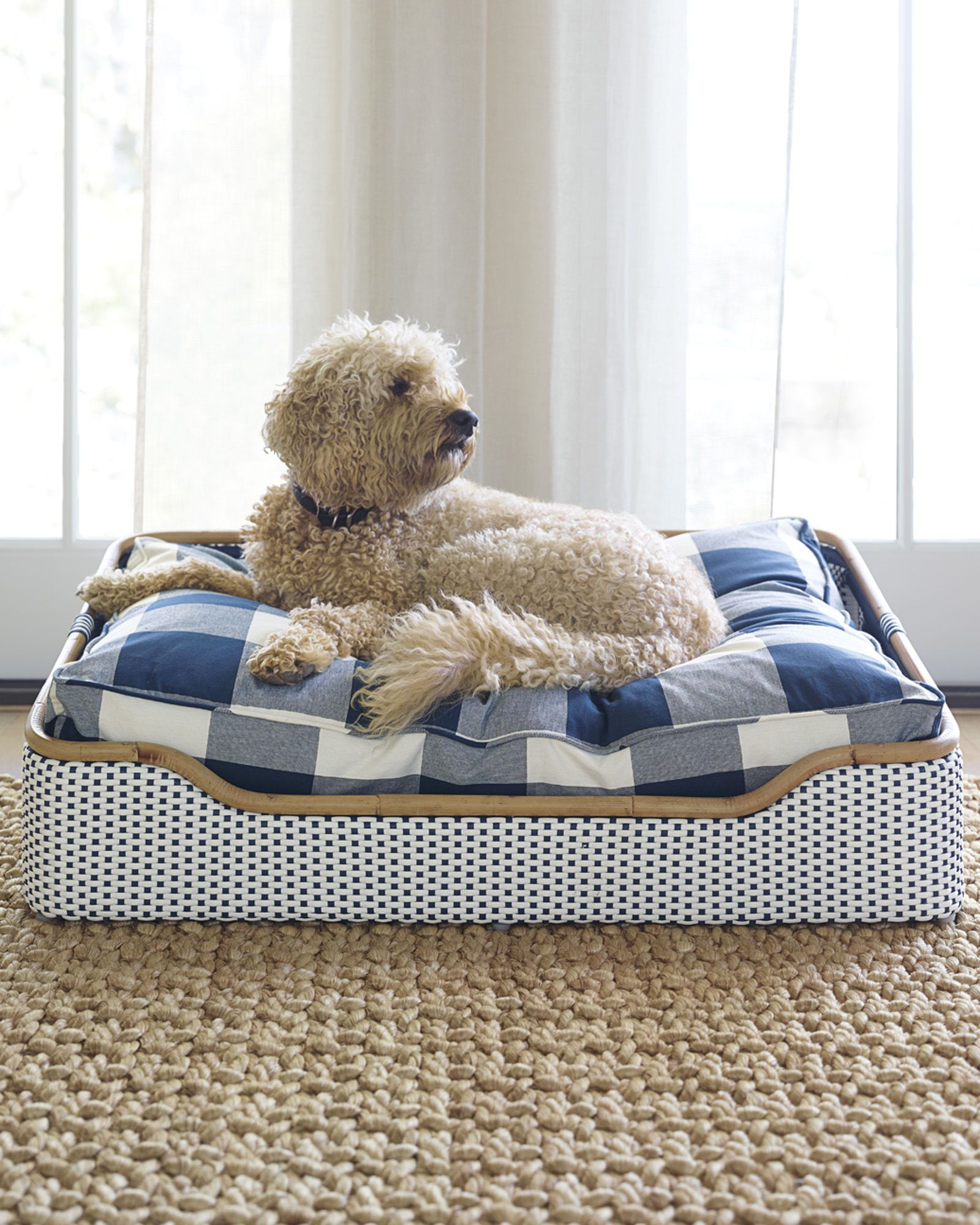 Coastal Rattan and Wicker Dog Bed in small and large sizes
