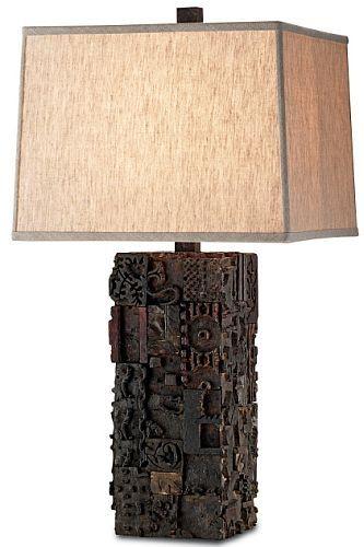 Table Lamp Made Of Reclaimed Printing Wood Blocks