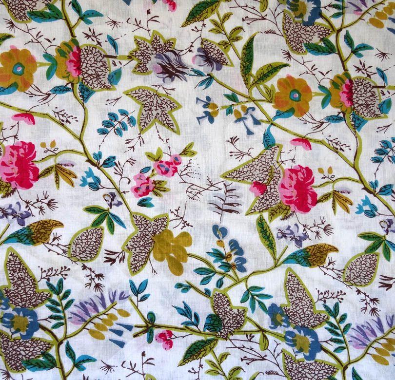 tissu indien au m tre paradise blanc tissus habillement d co par akkacreation textiles. Black Bedroom Furniture Sets. Home Design Ideas