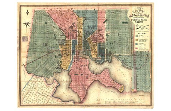 Digital Print, Baltimore Art, Zombies, Baltimore, Vintage Map ...