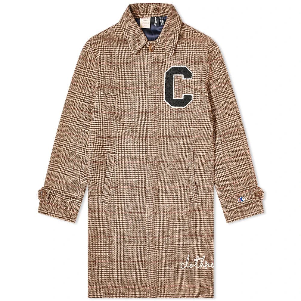 Champion X Clothsurgeon C Logo Checked Coat Check Coat Coat