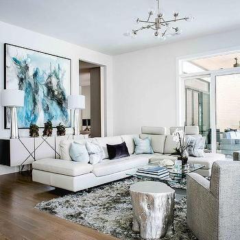 Modern White Leather Sectional With Pale Blue Pillows Leather Couches Living Room Modern White Living Room Living Room Leather