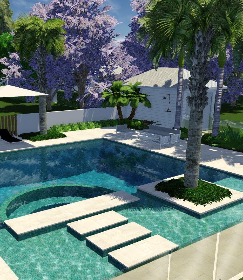 Pool Stepping Stones Resort Style