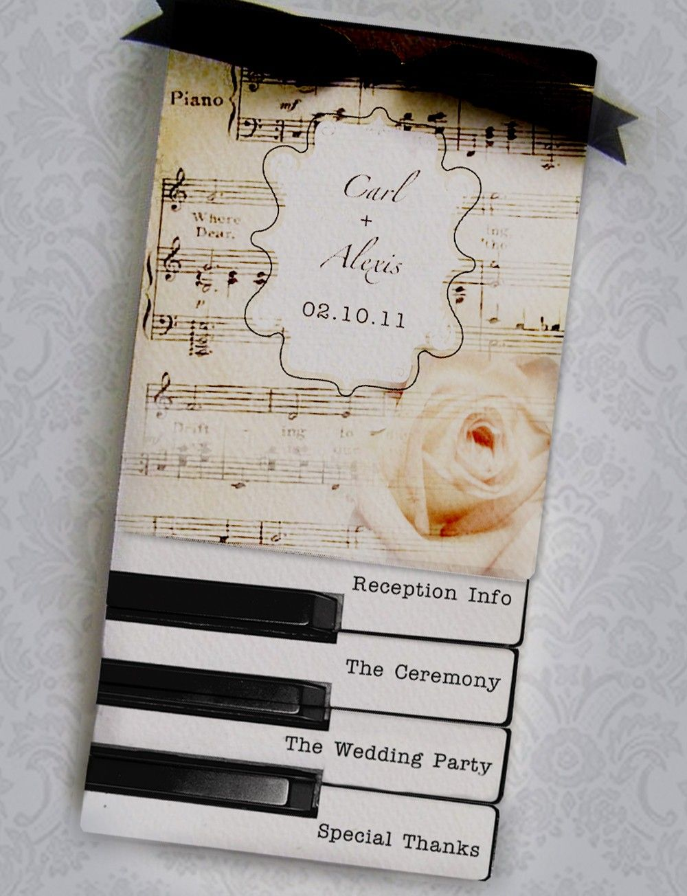 custom wedding invitations nashville%0A Piano Wedding Programs or Invitations     Layered Vintage Piano Sheet Music