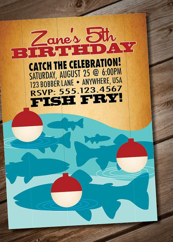 Diy printable retro fishing birthday party invitation via for Fishing birthday invitations