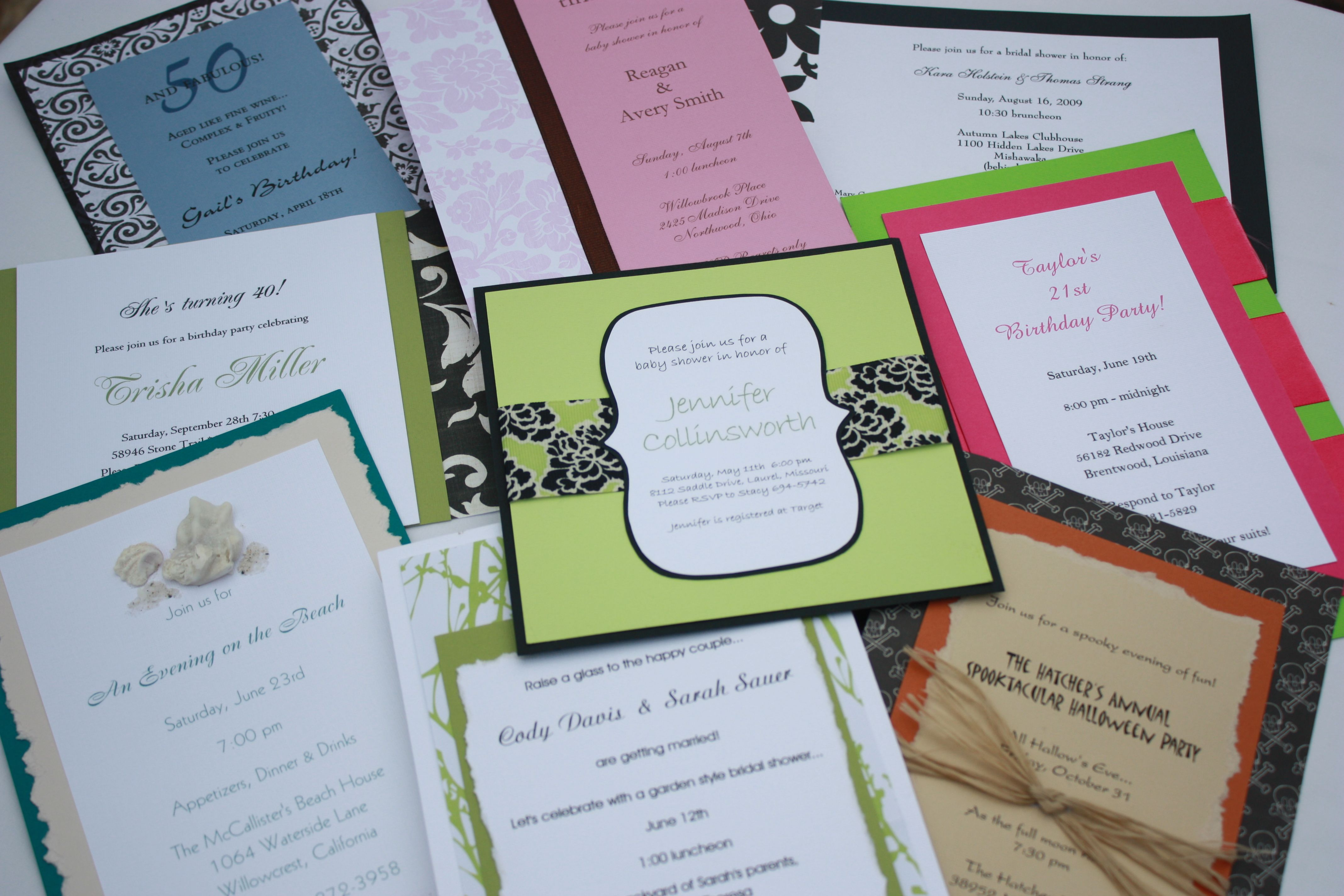A plethora of homemade invitations