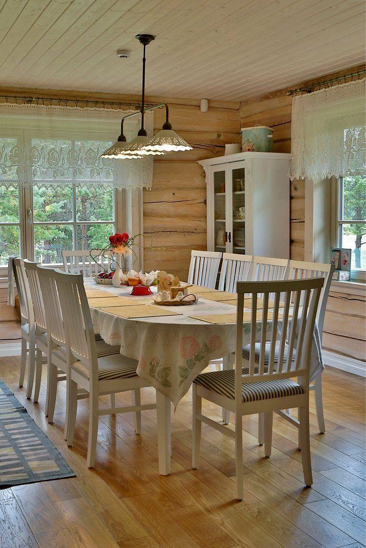Kaisu Talu Urgeestiliku Valimusega Kasitoo Palkmaja Rookatuse All Country Style Dining Room Rustic Kitchen Rustic Dining Table