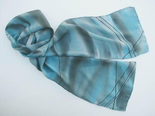 Blue, geo design Simply Elegant Hand Dyed Silk Scarf. $45.00, via Jan Allmon Studio on Etsy.