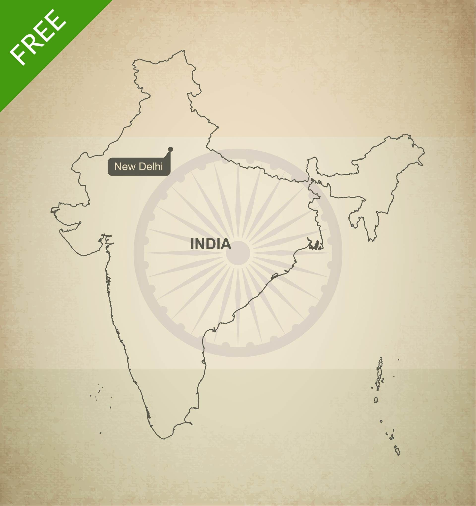 Free vector map of india outline gumiabroncs Gallery