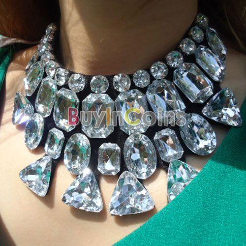 Fashion Statement Rhinestone Crystal Black Ribbon Tie Bib Gem Collar Necklace #BuyInCoins #Pantyhose