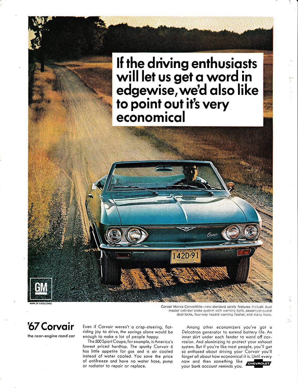 Amazon Com 1967 Chevrolet Corvair Monza Convertible Rear Engine Auto Original Magazine Ad Everything Else Chevrolet Corvair Chevy Corvair Chevrolet
