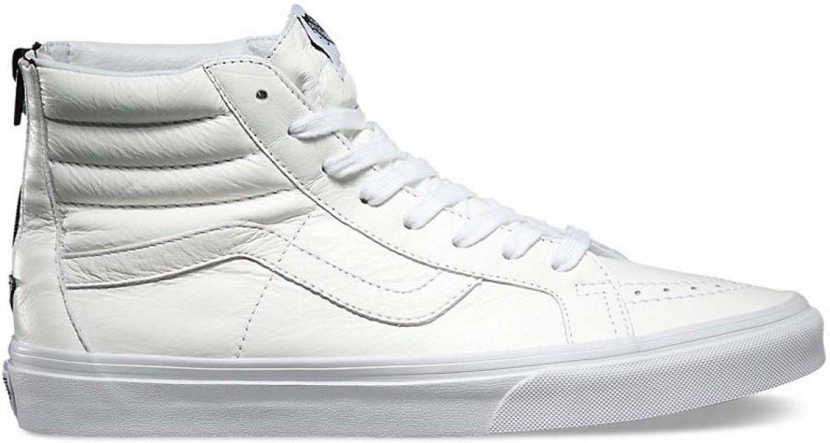 3bf1844c52e7 Vans Sk8-Hi Reissue Zip (Premium Leather) True White Black