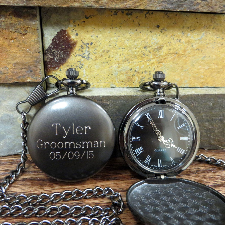 Personalized Groomsmen Pocket Watch, Gunmetal Monogrammed