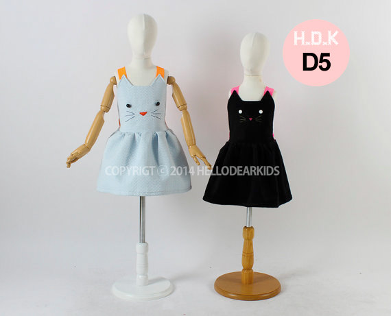 Girls dress/ Kids sewing pattern pdf/Toddler Kids/ cat suspender skirt / jumper skirt/ overall skirt with cat face, sizes 2T to 7Y
