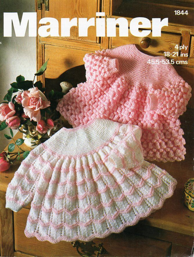 baby angel tops knitting pattern baby girls dress 18-21\