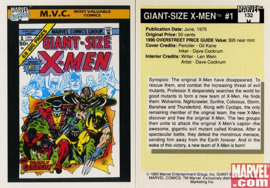 Giant size xmen 1 card 132 x men marvel marvel