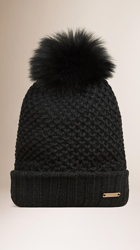 Burberry warm wool cashmere beanie with fur pom-pom Finished with a ribbed  hem. Discover more accessories at Burberry.com 42f2cab6796