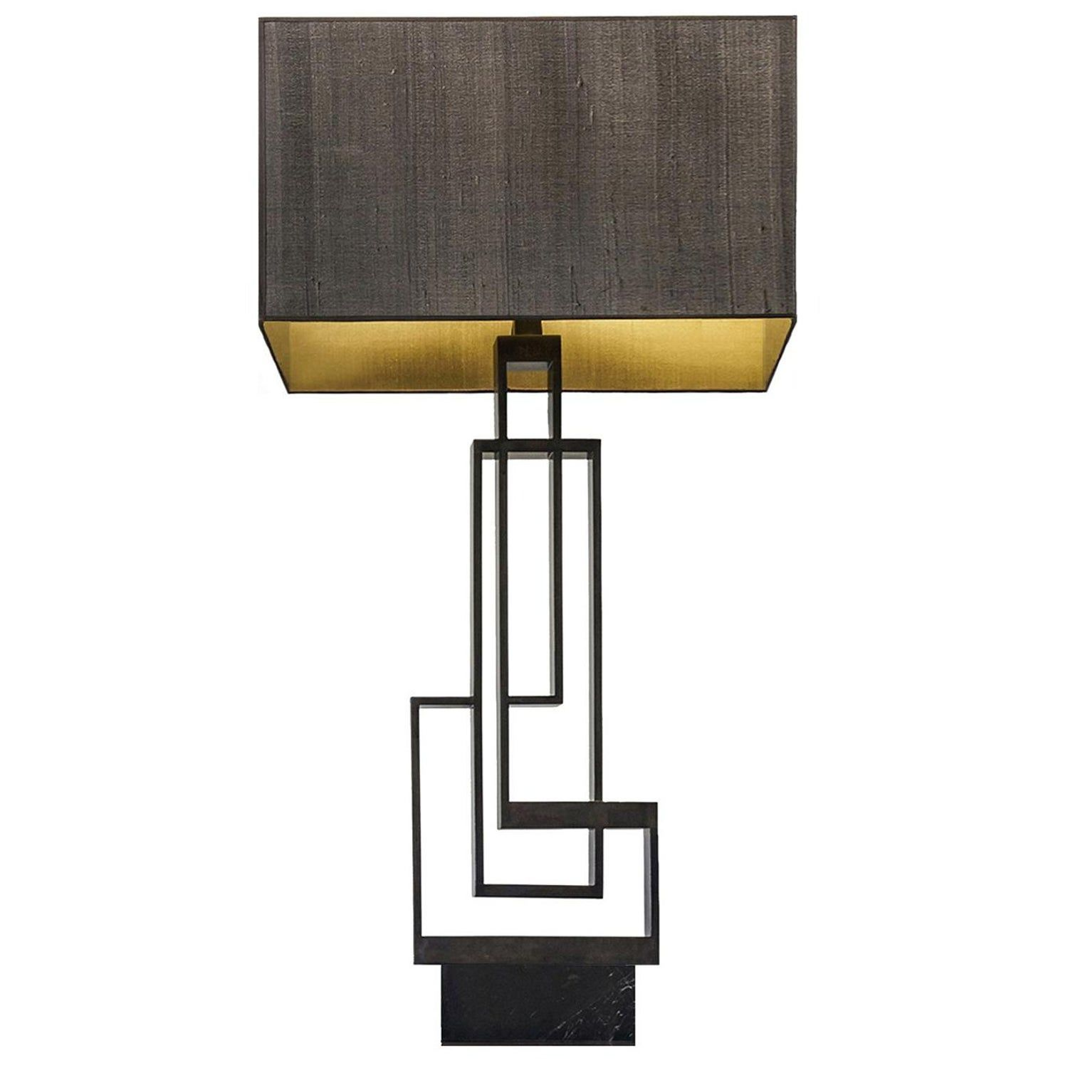 Contemporary Handcrafted Table Lamp Ilios In Brass And Marble