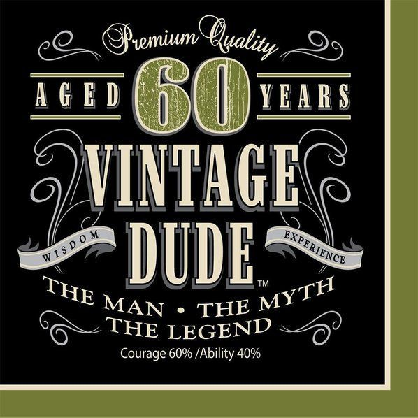 Check Out Vintage Dude 60th Luncheon Napkins