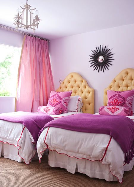 pink and purple bedroom with red and yellow accents. would be