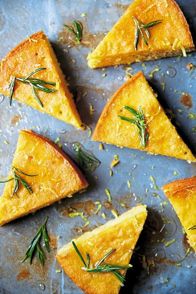 Lemon and Rosemary Almond Cake - get recipe here: http://www.dailymail.co.uk/femail/article-3781797/The-Bake-boy-s-best-Lemon-rosemary-almond-cake.html