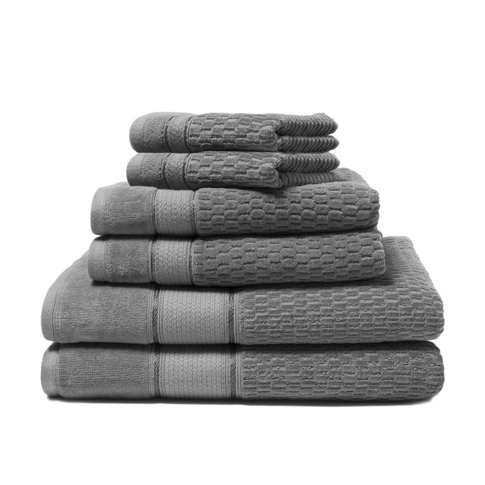 Espalma Royale 6 Piece Charcoal Solid Turkish Cotton Bath Towel