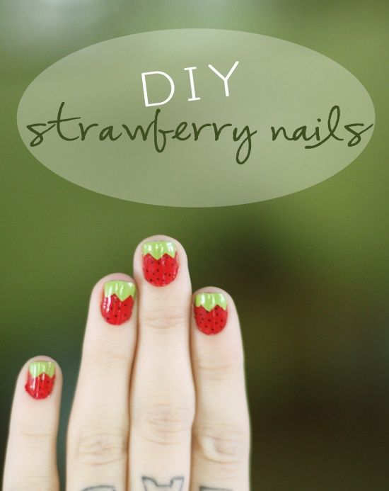 Strawberry nails awesome! | uñas | Pinterest