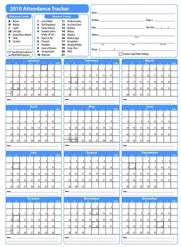 Awesome Printable 2017 Employee Attendance Calendar
