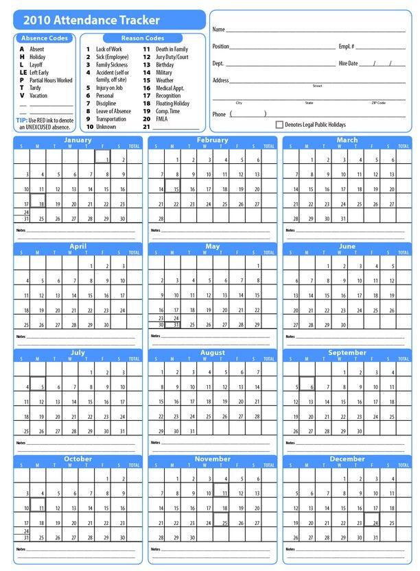 printable attendance calendar 2019