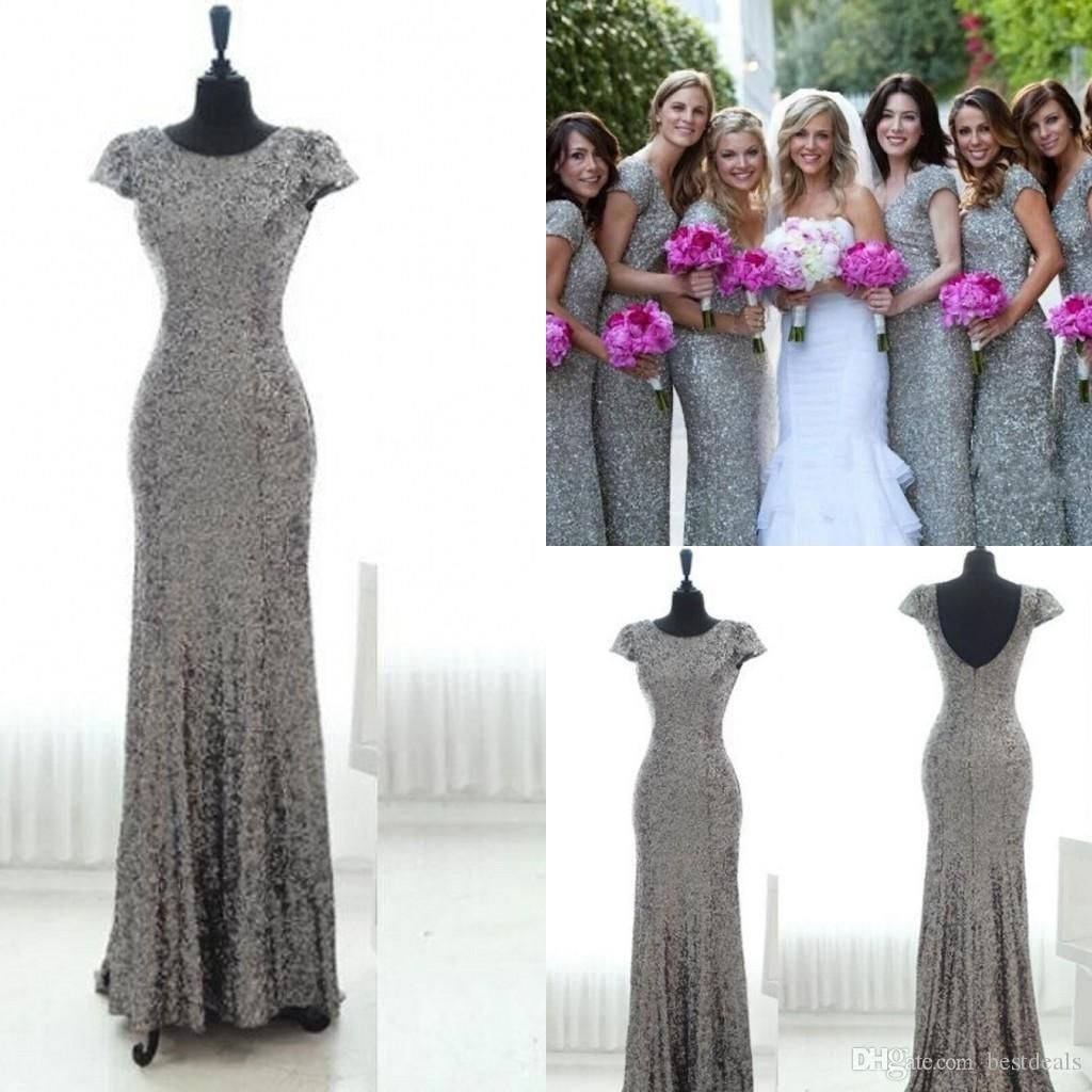 Modest coral short bridesmaid dresses cheap long sleeves scoop bling grey sequins mermaid bridesmaid dresses 2016 with short sleeves backless bridesmaid gowns plus size long ombrellifo Choice Image