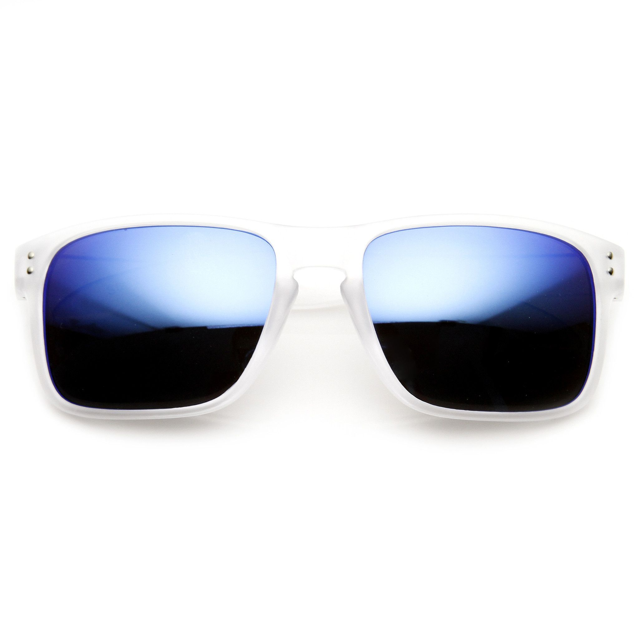 e4f9cf16335 Men s Action Sports Frosted Color Aviator Sunglasses With Flash Revo Lens