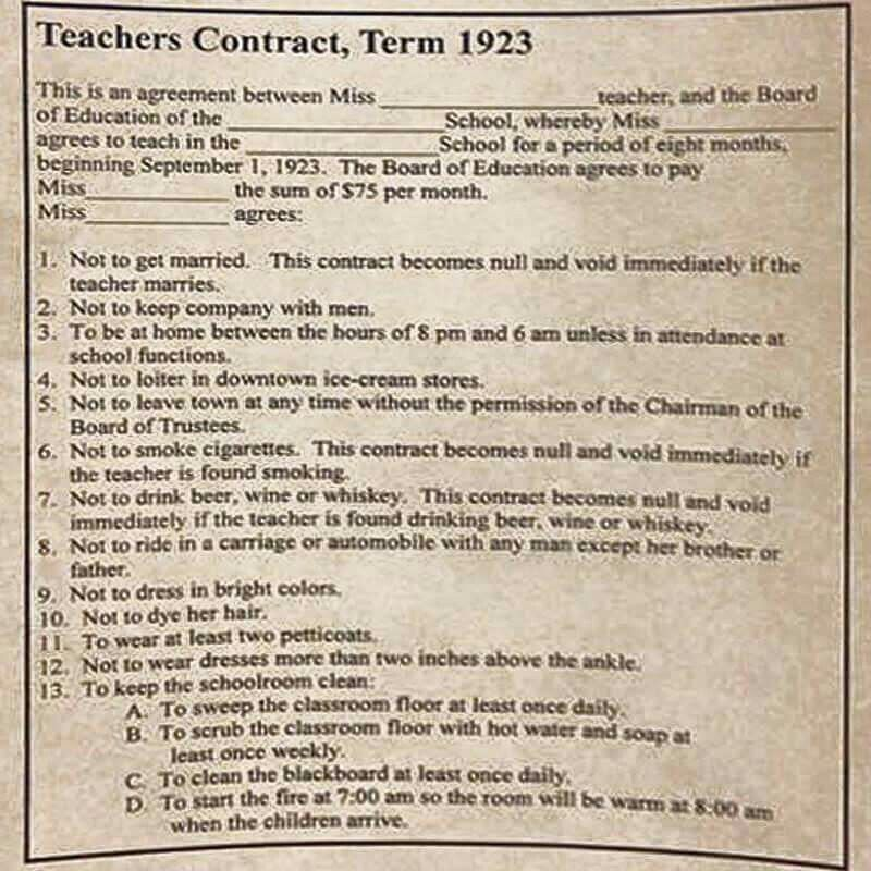 Teachers Contract 1923 | School/Teaching | Pinterest | Teacher And