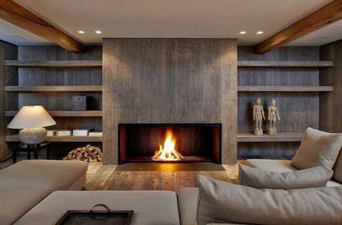 Fireplaces - chimenea muro-mueble en hormigón? Este mismo concepto ...
