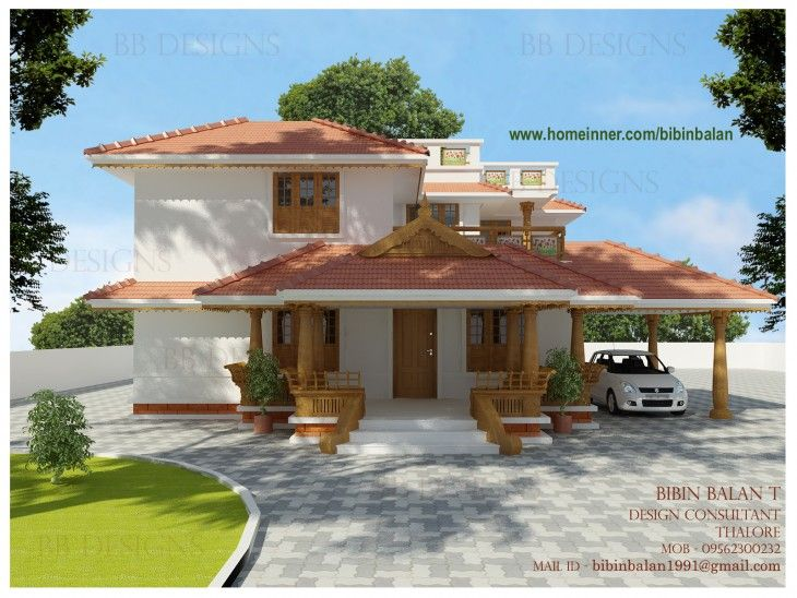 2500 Sq Ft Traditional Kerala Home Design By Bibin Kerala House Design Craftsman House Plans Kerala Houses