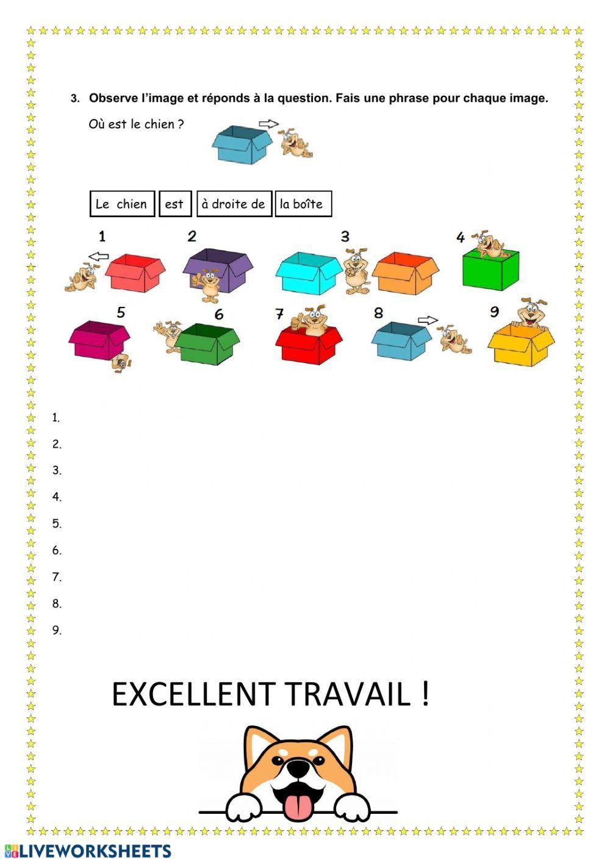 Les prépositions de lieu Interactive worksheet   French worksheets [ 1413 x 1000 Pixel ]