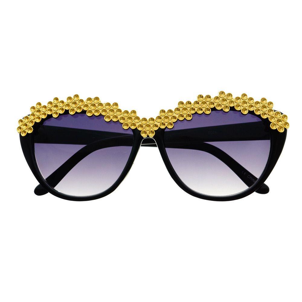 885bc1bc27c  celebrity  designer  retro  vintage  fashion  womens  cat  eye  sunglasses   shades  gold  bling  flowers  black