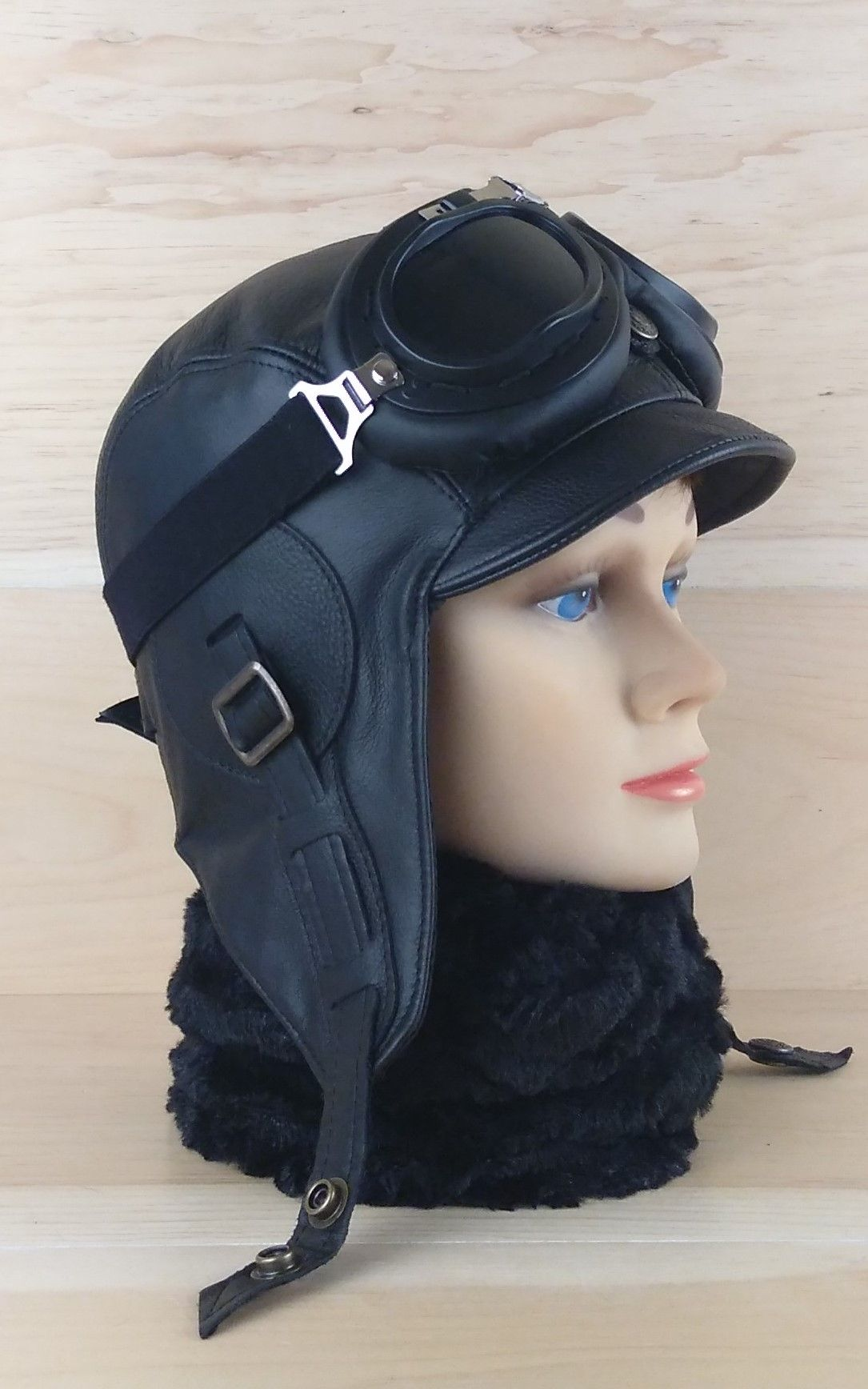 1746c05d88ff85 Leather aviator hat, black pilot cap, steampunk hat and goggles, motorcycle  helmet for women. Buy on Etsy, FREE SHIPPING!