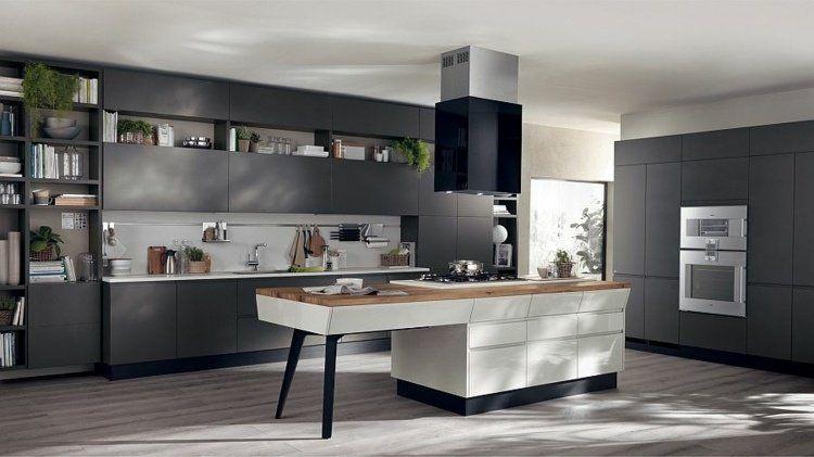 Cuisine ouverte sur salon de design italien moderne - idee bar cuisine ouverte